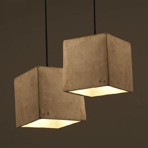 country square cement shade pendant lighting 12041