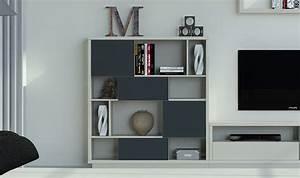 Meuble Bibliotheque Design Graphite Vison 4 Niveaux