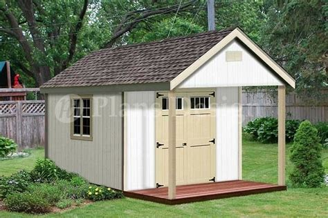 cabin shed covered porch plans plueprint p