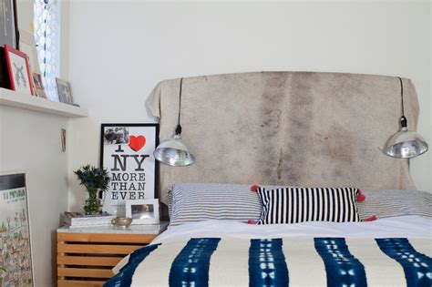 Cowhide Headboards by Cowhide Headboard Eclectic Bedroom