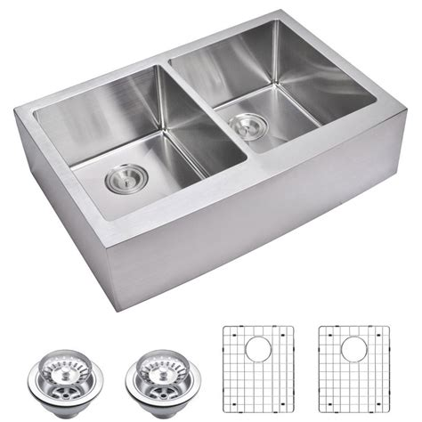 compact kitchen sinks stainless steel water creation farmhouse apron front small radius 8294