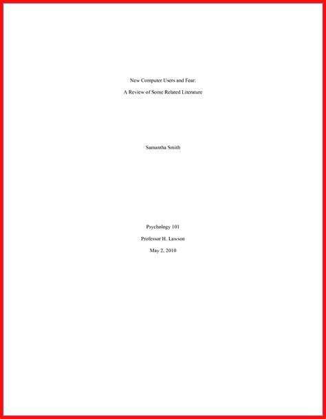 Apa Cover Page Template Mla Cover Page Template Sarahepps