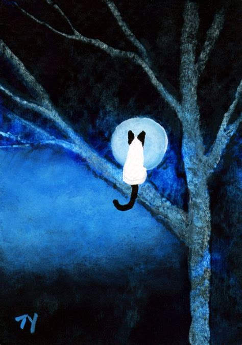 siamese cat moon tree aceo folk art print  todd young