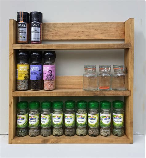 Spice Rack Shelving by Spice Rack 3 Tiers Reclaimed Wood Rustic Kitchen Storage