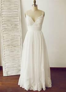 Size Chart Us Thin Straps Ivory Lace Chiffon Long Wedding Dress