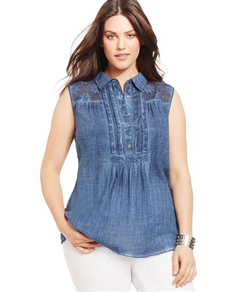 plus size lace blouse style co style co plus size sleeveless lace shoulder