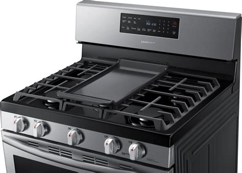 gas samsung range stainless steel griddle convection stove freestanding oven burner grates clean cleaning burners cu ft self aa air