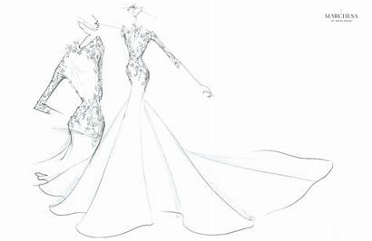 Marchesa Dresses Sketch Drawing Train Embroidery Gown