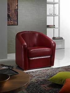 Fauteuil cabriolet cuir rouge luxor plusieurs coloris for Fauteuil cabriolet cuir