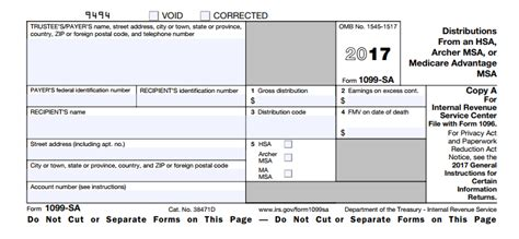 what is irs form 1099 sa distributions from an hsa
