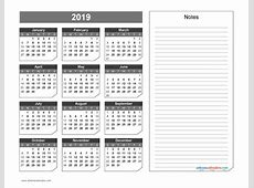 2019 Yearly Calendar with Notes Printable Chamfer