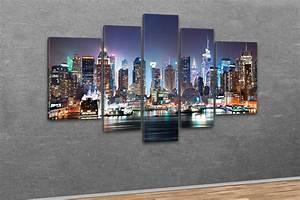New York Leinwand : kunstdruck new york city skyline manhattan bei nacht ~ Markanthonyermac.com Haus und Dekorationen