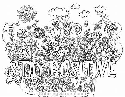 Positive Coloring Pages Adult Stay Printable Sheets