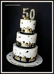 White,black and gold champagne themed 50th B'day cake
