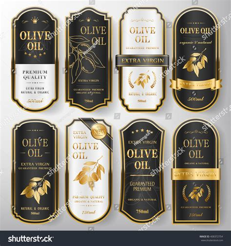 Elegant Premium Olive Oil Labels Set Stock Vector