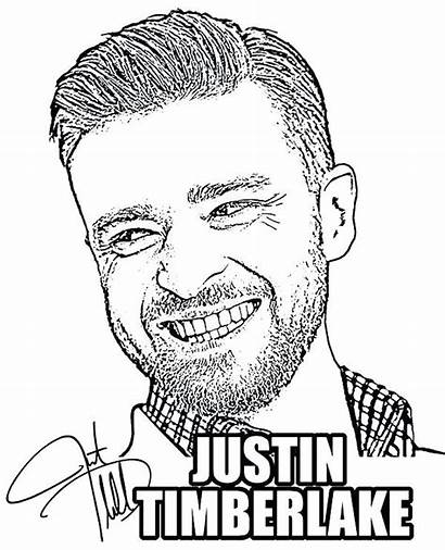 Coloring Pages Justin Timberlake Celebrity Singer Famous