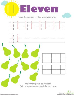 tracing numbers counting 11 worksheet education