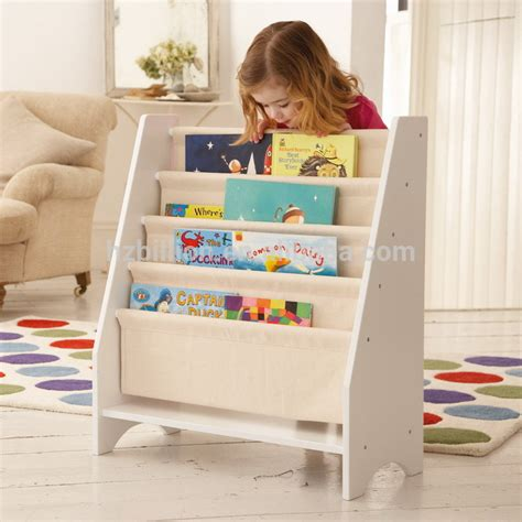 5 Level Tier Wooden Childrens Canvas Book Shelf Display