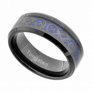 Tungsten dragon celtic scroll inlay ring men39s wedding band for Tungsten celtic wedding ring
