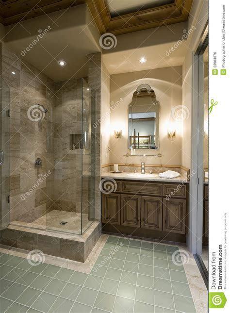 Modern Bathroom With Shower Cubicle Stock Photo   Image of