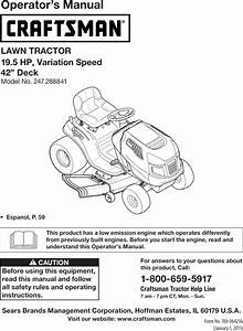 Craftsman 247288841 User Manual Tractor Manuals And Guides