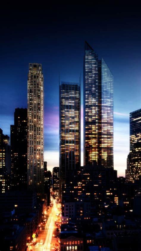 hd background city night light skyscrapers windows