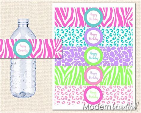 animal print water bottle labels leopard party zebra