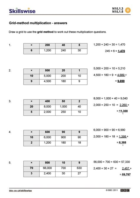 multiplication worksheets using grid method grid method multiplication