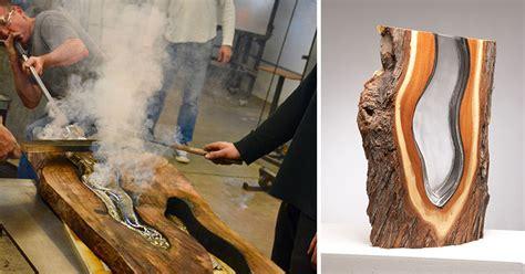molten glass  hand blown   wood pieces