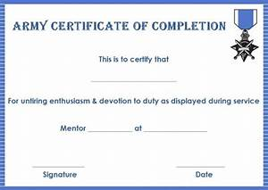 certificate of completion 22 templates in word format With army certificate of completion template