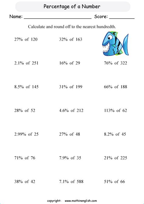 worksheets percentages of whole numbers calculate the percentage of whole numbers and