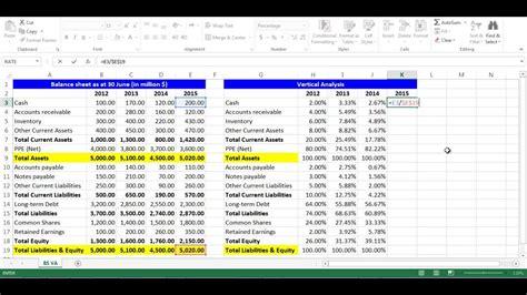 vertical analysis  balance sheet items  excel