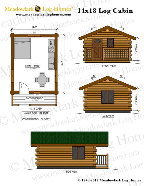 14x18 log cabin meadowlark log homes