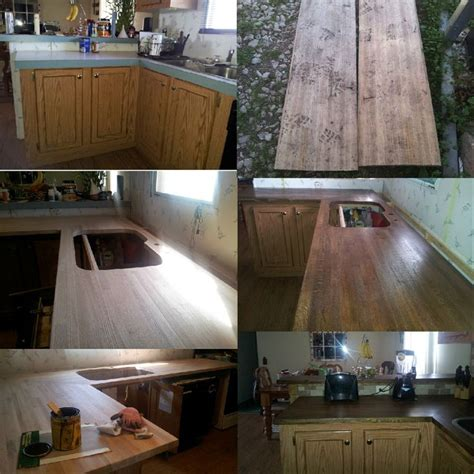 diy rustic wood kitchen countertops diy kitchen redo