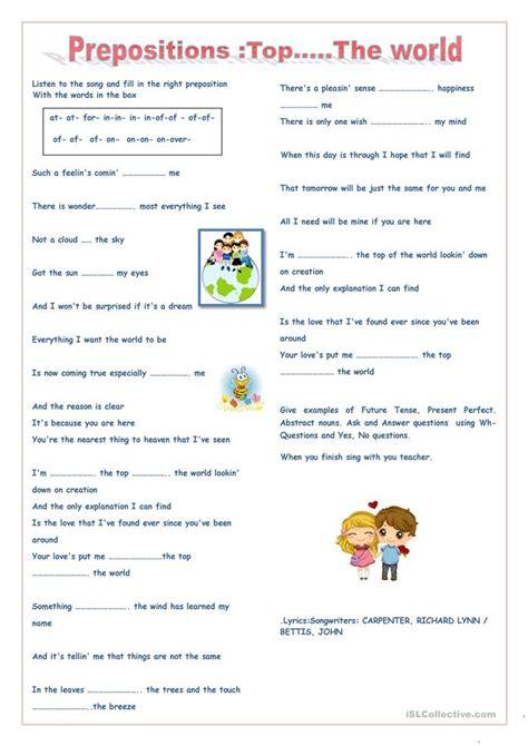 Prepositions Topthe World Worksheet  Free Esl Printable Worksheets Made By Teachers