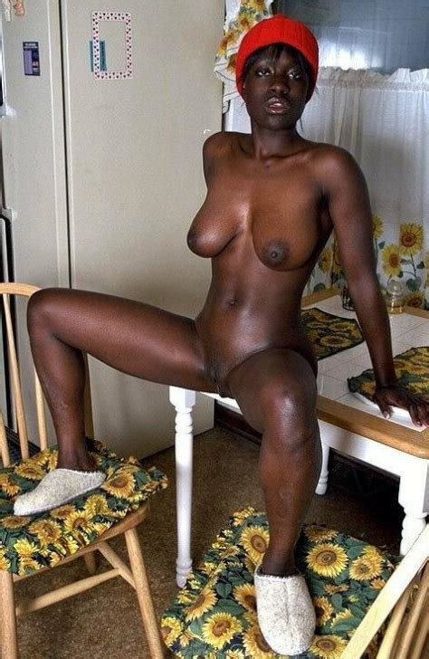 Jet Black African Girl With Natural Tits Climbed On The