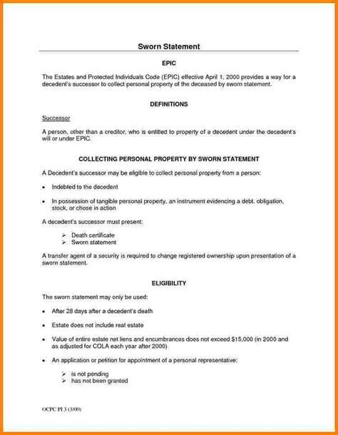 sample letter  sworn statement case statement