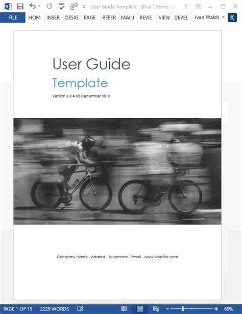 user manual template user guide ms word templates tutorials sles