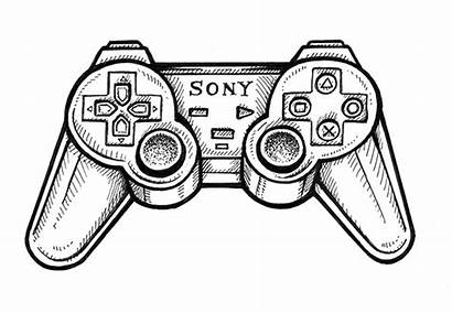 Controller Playstation Ps2 Drawing Line Behance