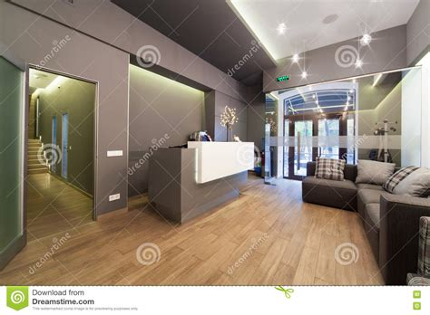 office reception interiors lobby entrance with reception desk in a dental clinic Modern