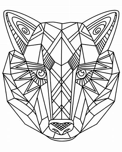Wolf Coloring Wolves Geometric Head Pages Adult