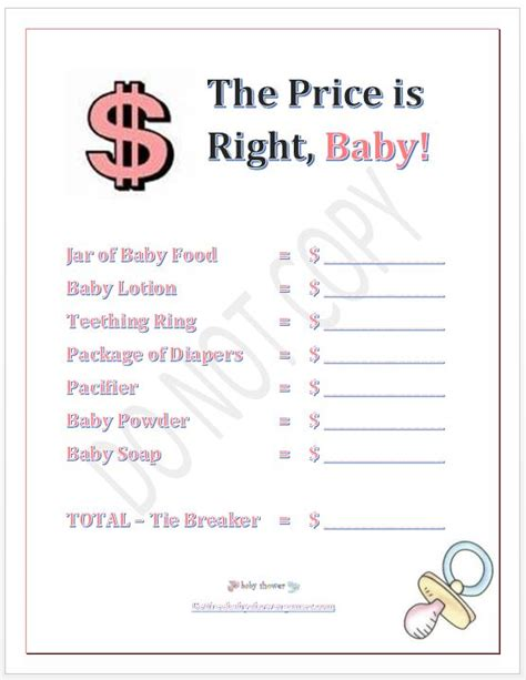 baby shower price is right printable baby shower baby shower in a box