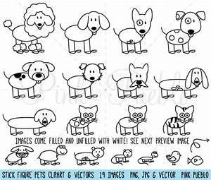 Stick Figure Pets Clipart and Vector ~ Graphics on ...