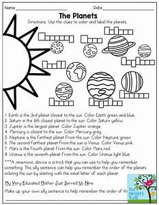 The Planets (read and color, then come up with a mnemonic ...