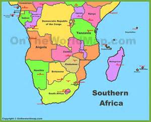 Southern Africa Map Countries and Capitals