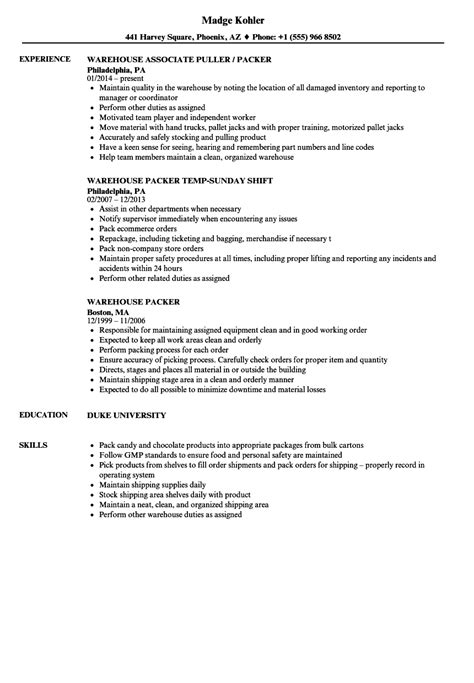 Picking And Packing Resume by Packer Resume Sle Bijeefopijburg Nl