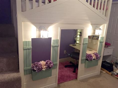 ana white cottage loft bed playhouse  stairs lights