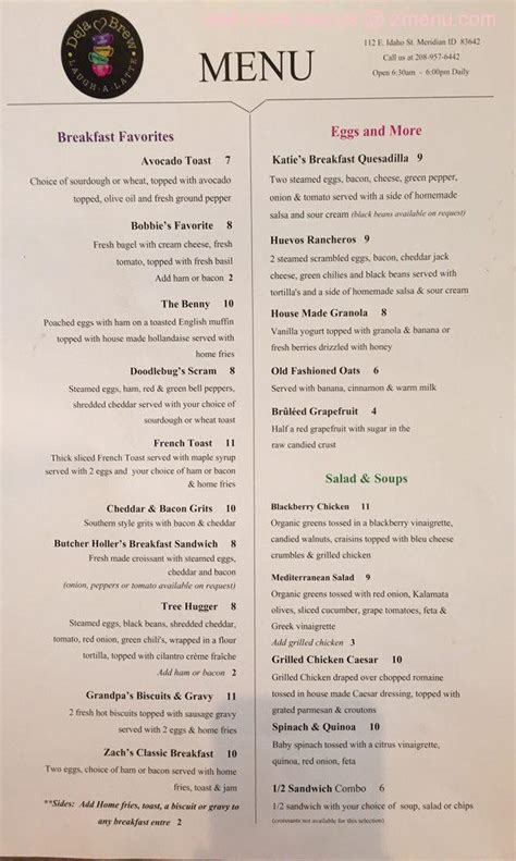 You will find that the menu is divided into the following categories now you have discovered the full menu and prices for deja brew coffee bar! Online Menu of Deja Brew Laugh A Latte Restaurant, Meridian, Idaho, 83642 - Zmenu