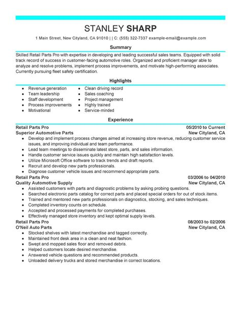 Parts Of A S Resume by Best Retail Parts Pro Resume Exle Livecareer