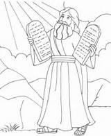 Moses Coloring Printable Commandments sketch template